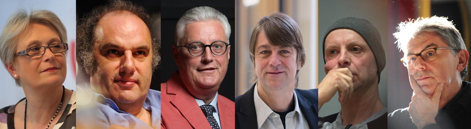 Theaterintendanten wehren sich gegen rechtsnationale Angriffe: Karen Stone, Matthias Lilienthal, Guy Montavon, Holger Schultze, Armin Petras, Ulrich Khuon.