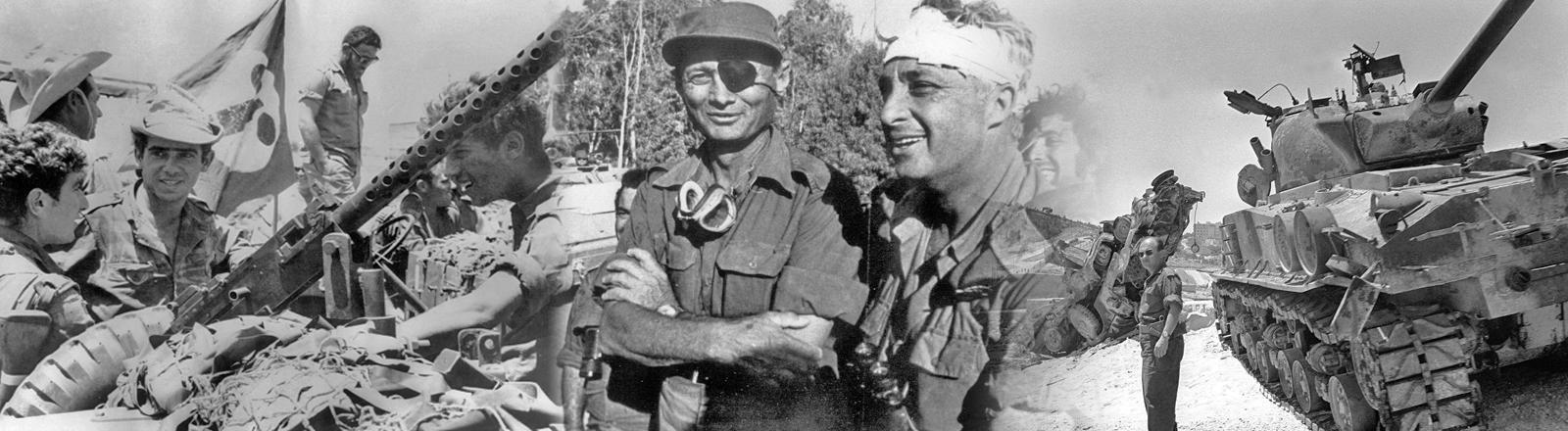 Bilder und Eindrücke aus dem Sechstagekrieg. Israelische Truppen in der Negev-Wüste und ein israelischer Panzer zwischen Israel und Jerusalem.