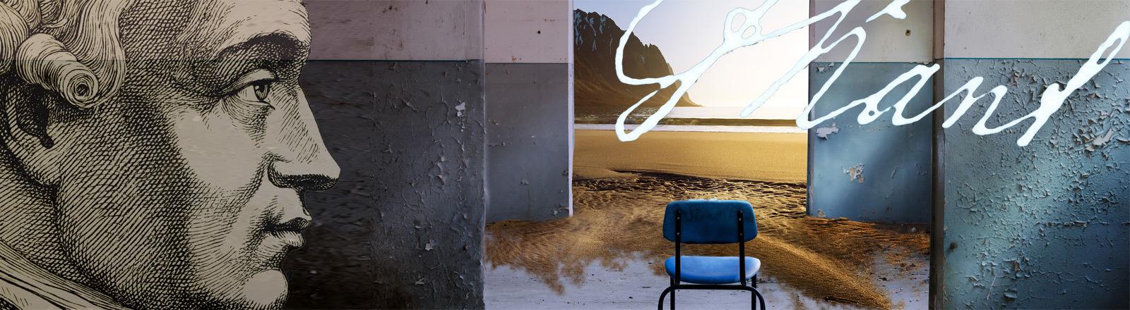 Symbolbild/ Collage: Die Realität hinter der Wahrnehmung und das Profil von Kant.