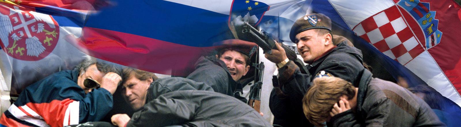 Collage Flaggen Serbien, Kroatien, Slowenien. Ein Soldat erwiedert das Feuer während Passanten mitten in Sarajevo in Deckung gehen, aufgenommen am 06.04.1992.