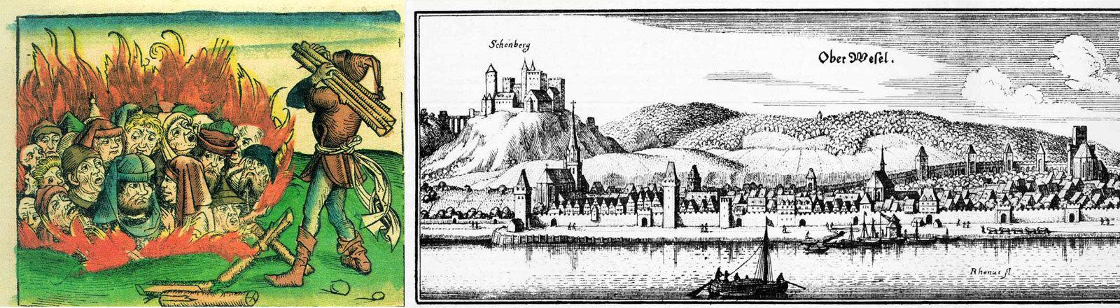 Judenverfolgung 1493 - Zeichnung von Hartmann Schedel, Stich von Matthäus Merian von Oberwesel 1645