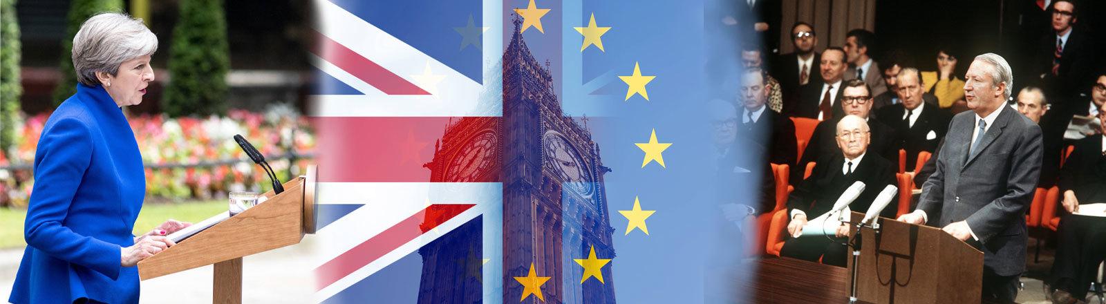 Flagge Großbritanniens und der EU vor dem Big Ben. Großbritanniens Premierminsiter Edward Heath bei seiner Ansprach. Am 22. Januar 1972 haben die Vertreter von Großbritannien, Irland, Norwegen und Dänemark in Belgiens Hauptstadt Brüssel die Beitrittsurkunden zur EU unterzeichnet. Der Beitritt der Länder, bis auf Norwegen. e.