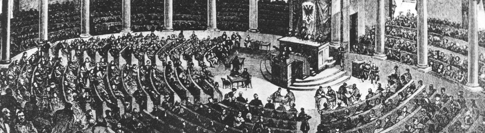 In einer zeitgenössischen Zeichnung wird die erste Sitzung der Nationalversammlung am 18.05.1848 in der Frankfurter Paulskirche dargestellt.