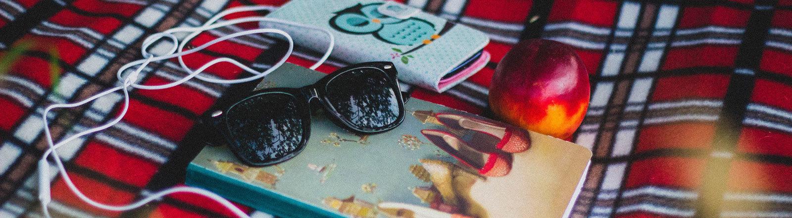 Decke, Buch, Sonnenbrille, Smartphone, Kopfhörer, Nektarine