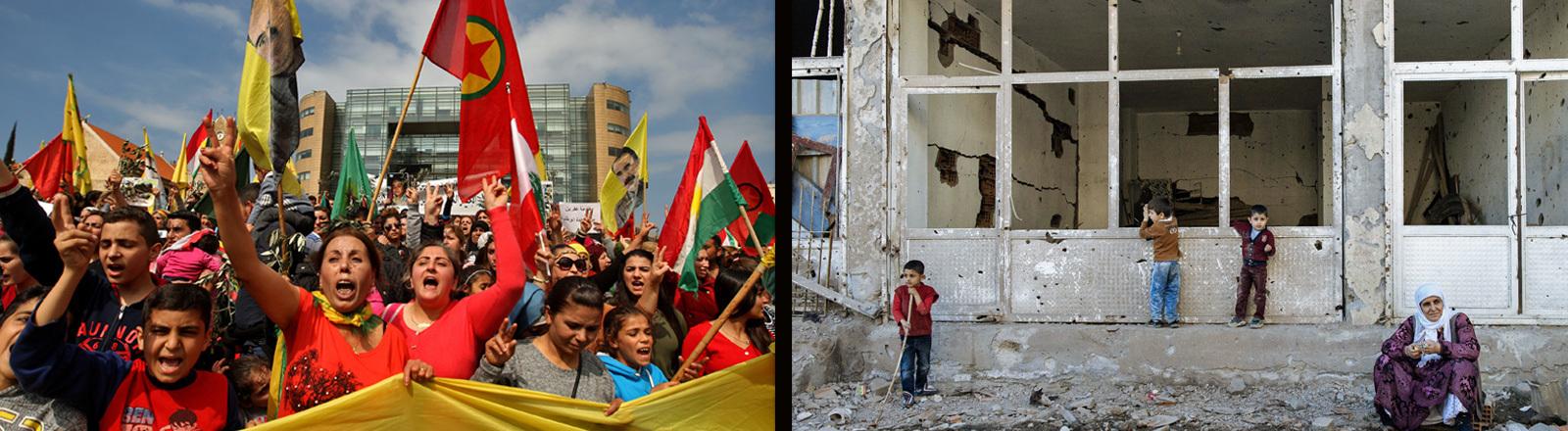 PKK Demo im Libanon nach türkischen Angriffen in Syrien am 11.3.2018 und eine Ruine nach Beschuss in der hauptsächlich von Kurden bewohnten Stadt Cizre im Dezember 2015.