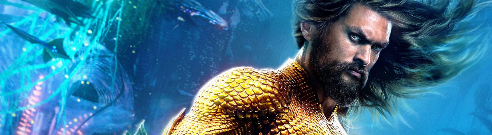 """Ein Filmplakat zu """"Aquaman"""" mit Jason Momoa."""
