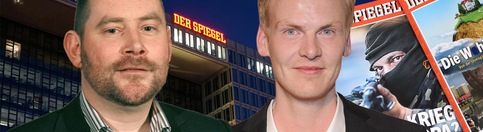 Stefan Niggemeier und Claas Relotius montiert vor dem Spiegel-Verlag.