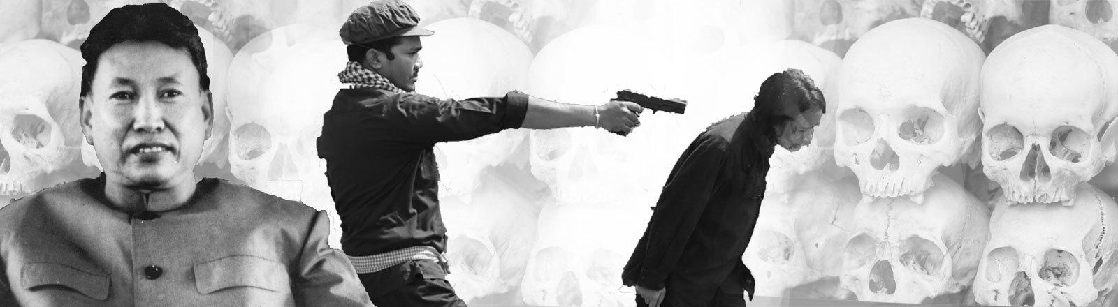 "Totenschädel der Opfer im kambodschanischen Phnom Penh. Filmausschnitt ""The Killing Fields"". Revolutionsführer Pol Pot 1977."