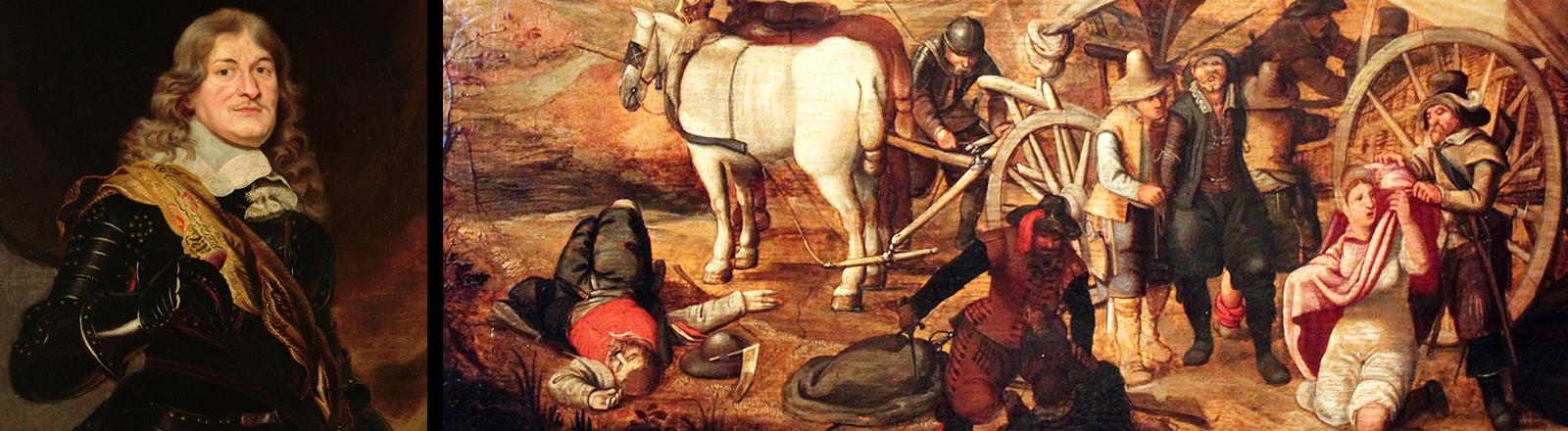 Friedrich Wilhelm von Brandenburg (Frans Luycx um 1650) und Marodierende Soldaten (Sebastian Vrancx, 1647) Deutsches Historisches Museum Berlin