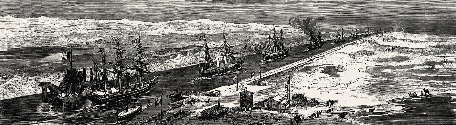 Im Jahr 1879 durchqueren mehrere Segelschiffe den Sueskanal