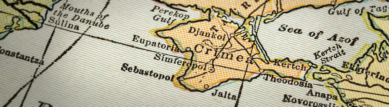 Die Halbinsel auf einer englischsprachigen Landkarte von 1926