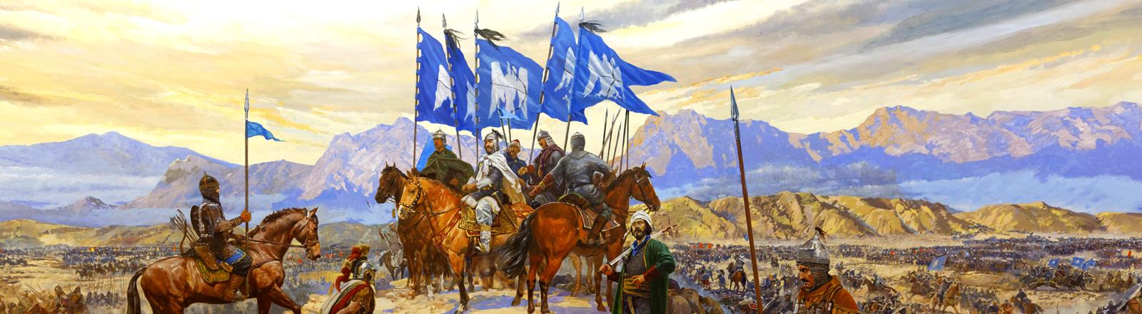 Historisches Gemälde aus Istanbul, das die Schlacht von Mantzikert zeigt.