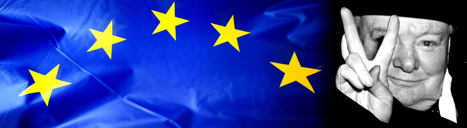 Collage: Europa-Flagge und Winston Churchill mit Peace-Zeichen
