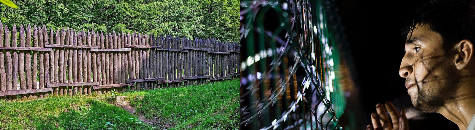 Nachgebaute Limes-Grenze, ein Flüchtling vor dem Zaun Ungarns