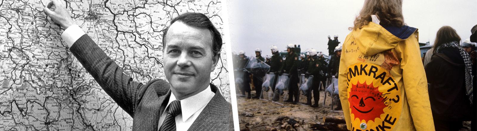 Collage: Ministerpräsident Ernst Albrecht zeigt Gorleben auf der Karte, Atomkraftgegner
