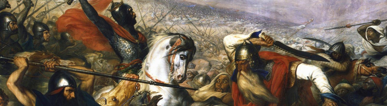 """""""Der Hammer"""" Karl Martell bei der Schlacht von Tours und Poitiers 732 gegen die Mauren"""