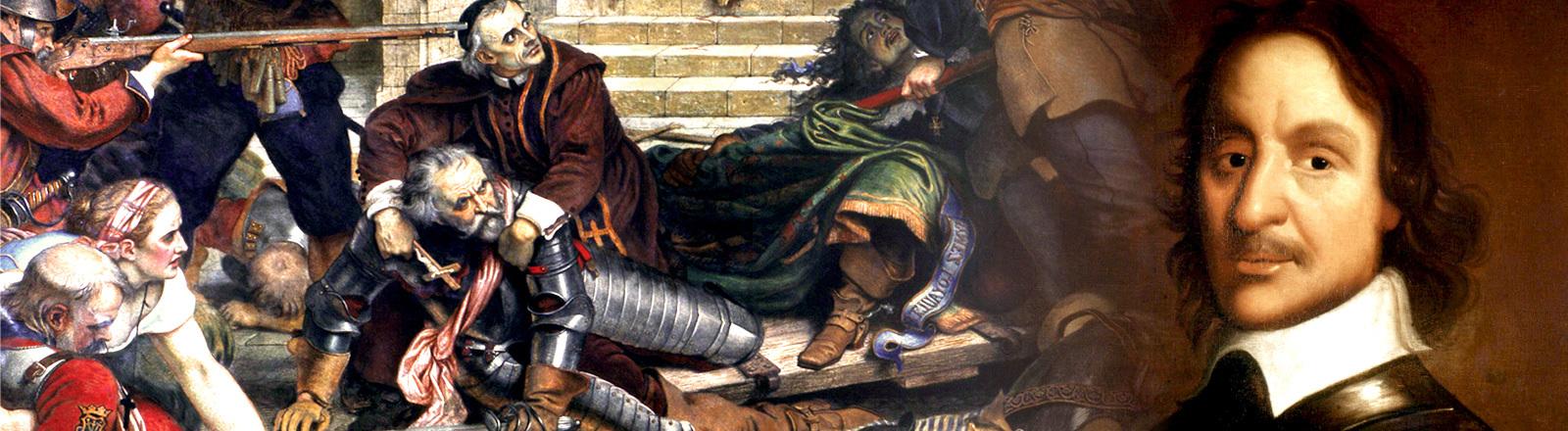 Collage: Schlachtgetümmel im englischen Bürgerkrieg; Oliver Cromwell
