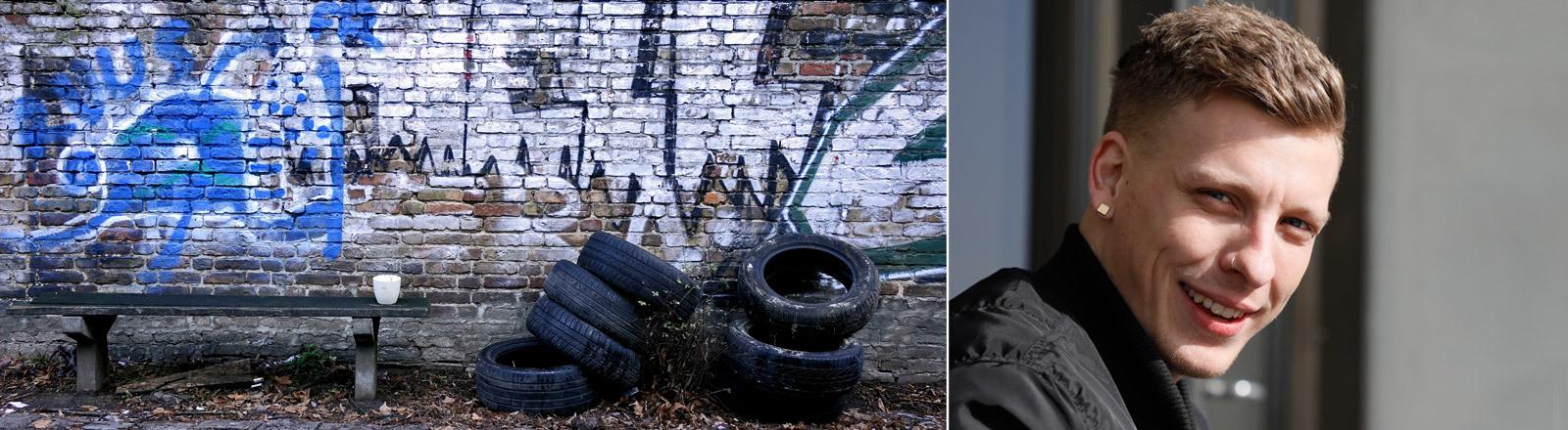 Links im Bild eine Szene aus Berlin-Neukölln. Eine Wand mit Graffiti, davor eine Bank und alte Autoreifen. Rechts im Bild Felix Lobrecht.