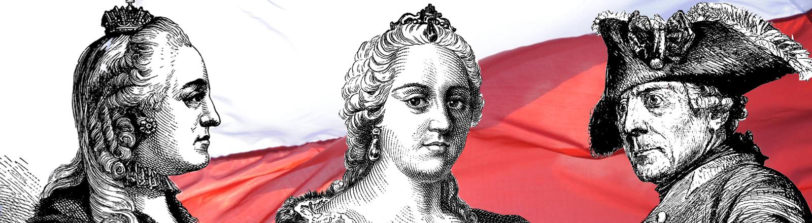 Katharina die Große, Maria Theresia von Österreich, Friedrich II., polnische Flagge