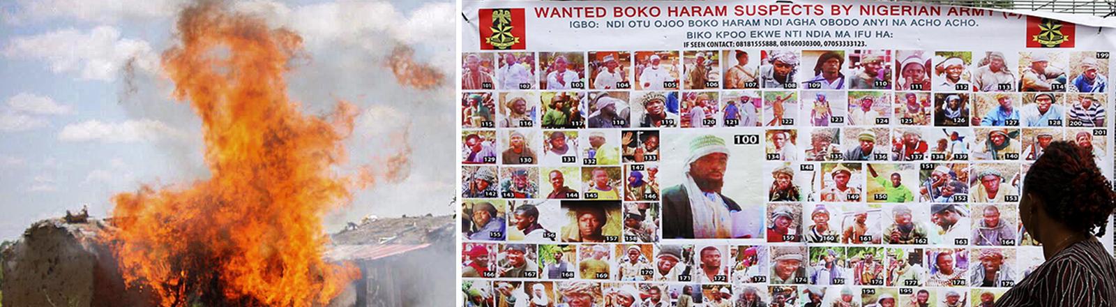 Collage_ links Feuer bei einem Anti-Terroreinsatz, rechts Fahndungsplakat Boko-Haram-Mitgliedero