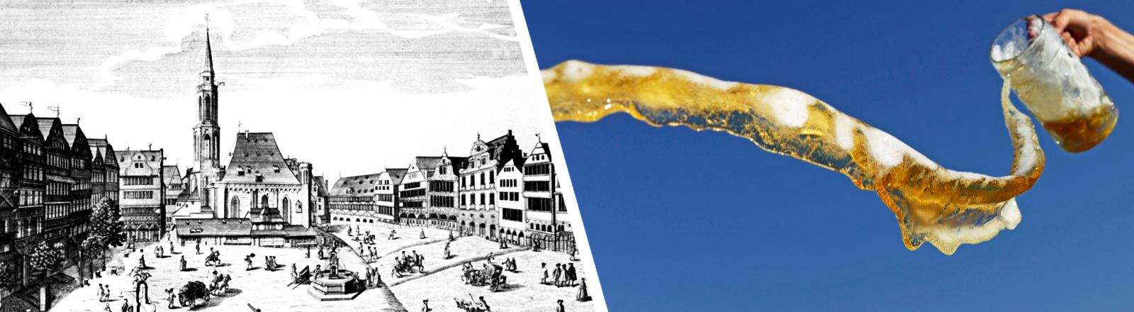 Collage: historisches Bild Frankfurt, ausgeschüttetes Bier