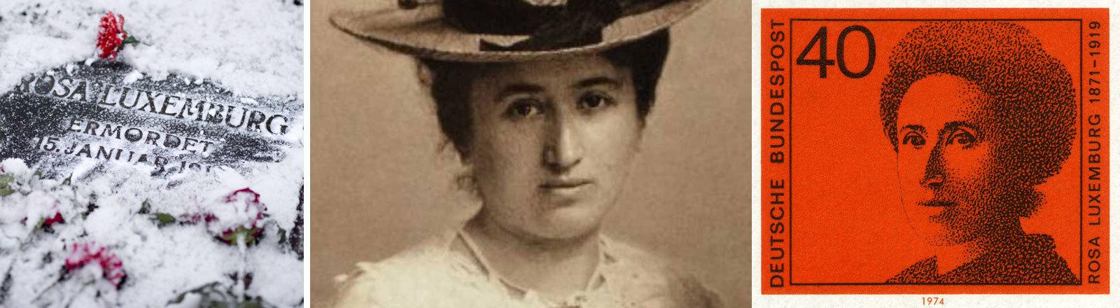 Die Grabstätte Rosa Luxemburg, Rosa Luxemburg im Portrait und auf Briefmarke