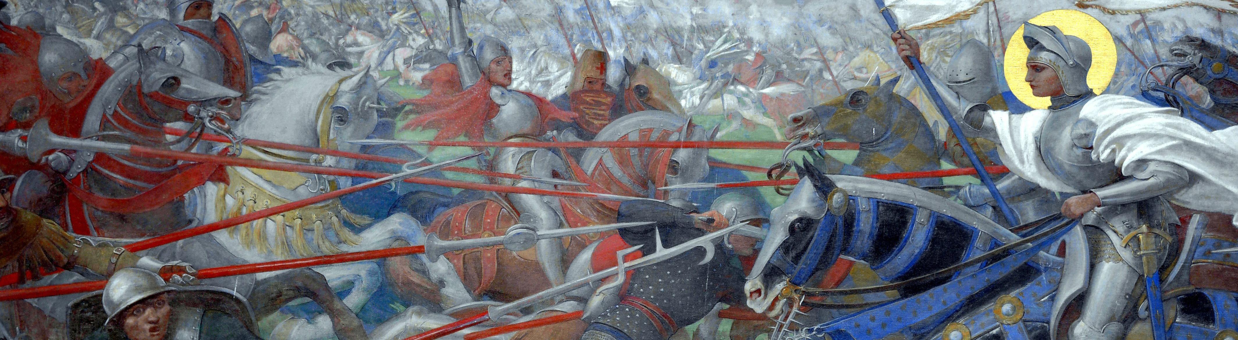 Johanna von Orléans in der Schlacht auf einem Gemälde von Lionel Royer