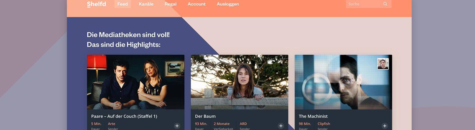 Screenshot der Website shelfd.com