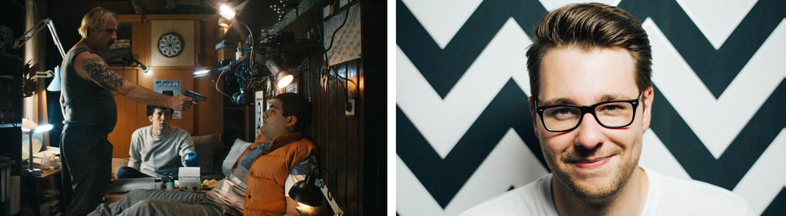 """Collage: Filmstill aus der Serie """"How to Sell Drugs Online (Fast)"""" und Portrait des Drehbuchautors Stefan Titze"""