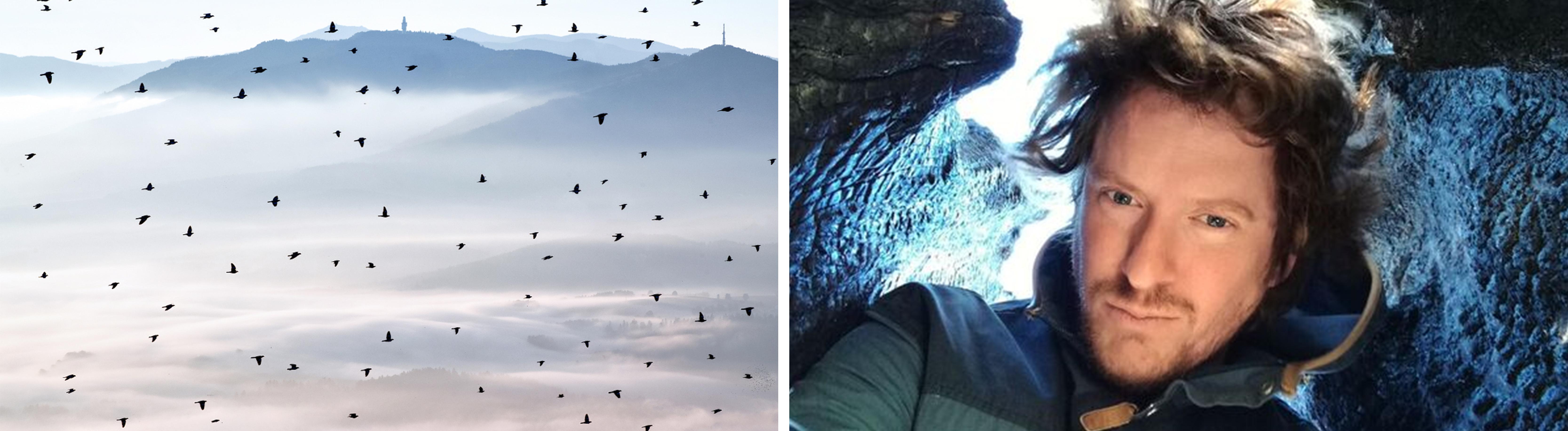 Collage: Landschaftsaufnahme mit Vögeln | Portrait des Fotografen Kilian Schönberger