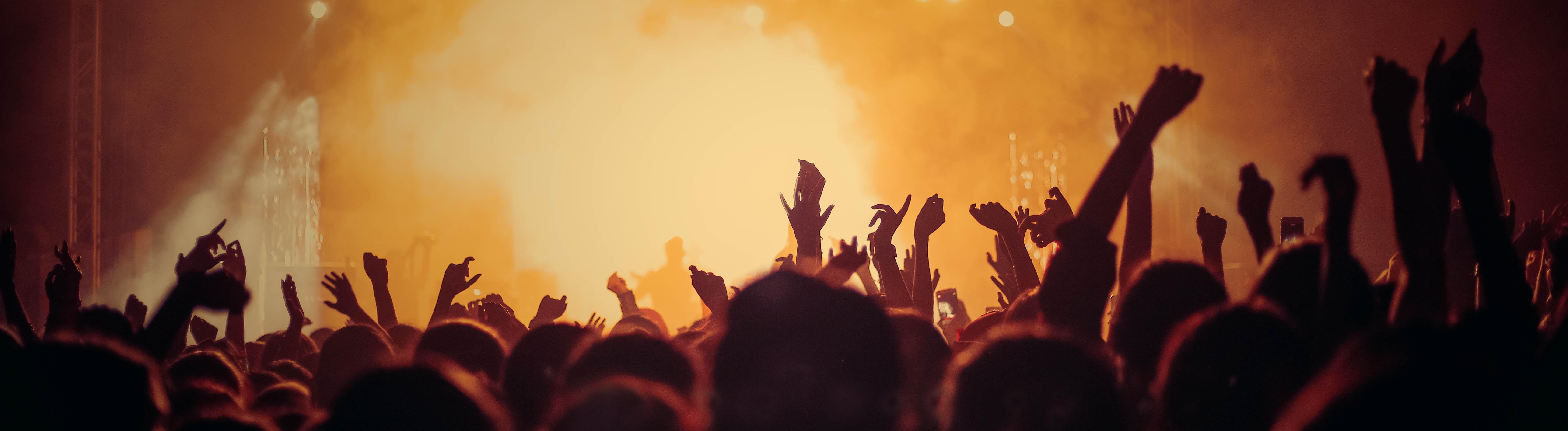 Konzertbesucher im Gegenlicht vor einer Bühne