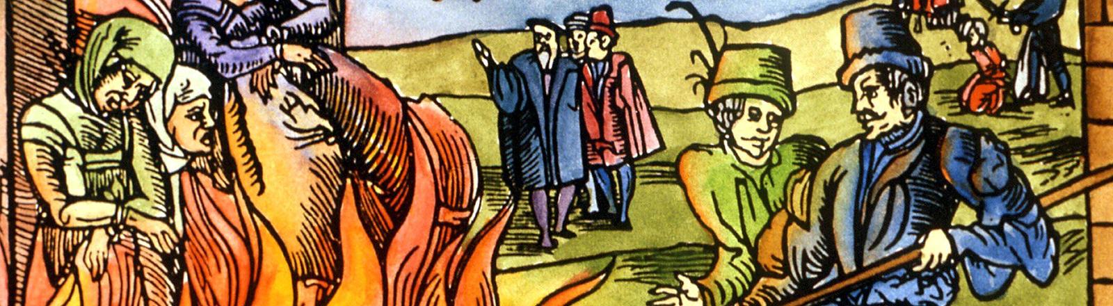Abbildung von 1555, die eine Hexenverbrennung in Derneburg darstellt