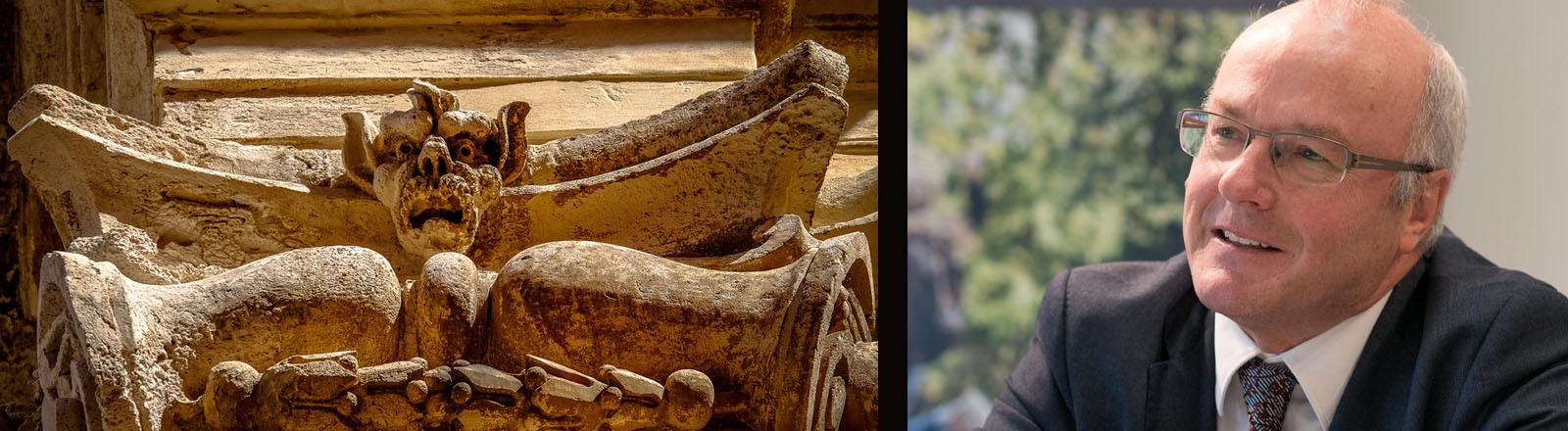 Symbolbild für das Böse: eine Steinstatue und ein Foto von Psychiater Reinhard Haller.