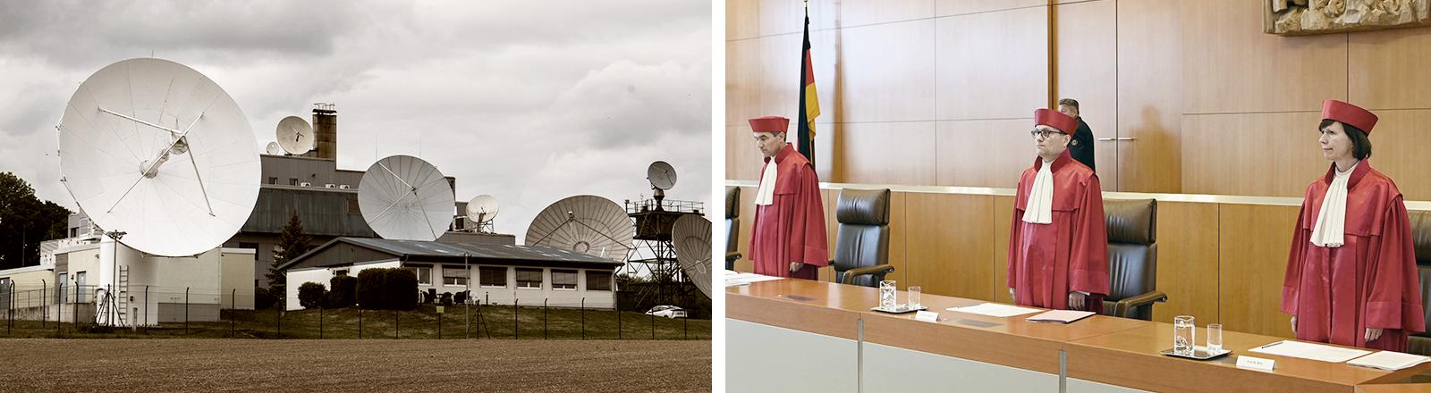 links: Technik steht an der Außenstelle Schöningen des Bundesnachrichtendienstes (BND) im Landkreis Helmstedt | rechts: Der Erste Senats des Bundesverfassungsgerichts verkündet das Urteil über die Überwachungsbefugnisse des BND im Ausland (19.05.2020, Baden-Württemberg, Karlsruhe)