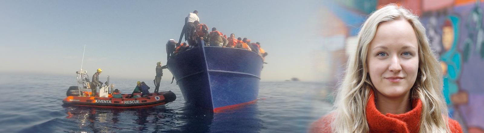 Collage: Links ein Bild einer Rettungsaktion des Seenotrettungsschiffs Iuvenat, rechts ein Portrait der Retterin Zoe Katharina