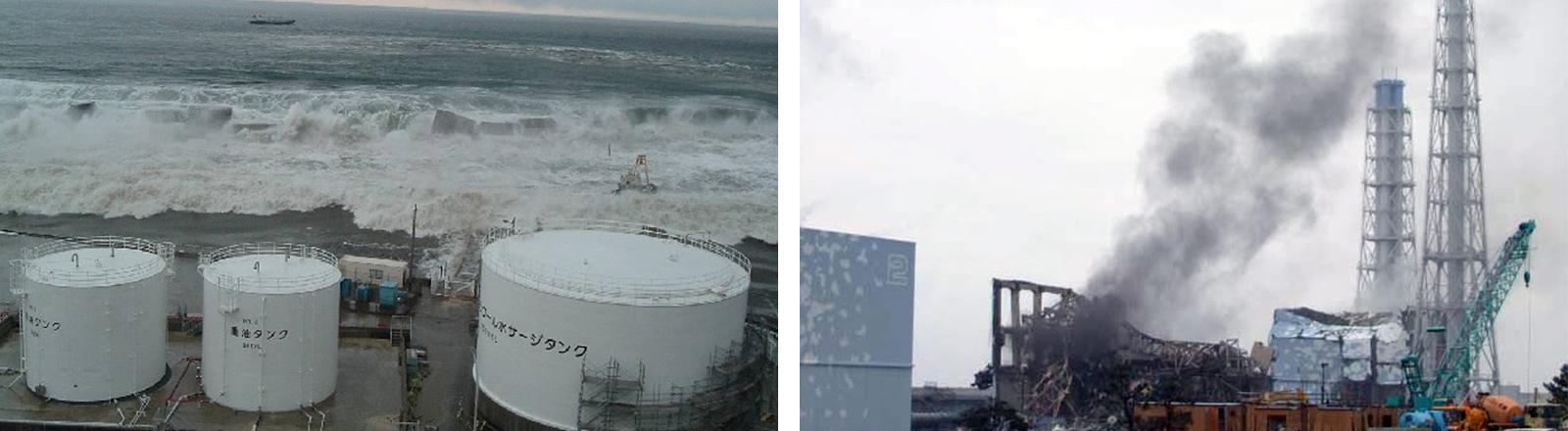 Der Tsunami rollt auf Lagerstätten für radioaktive Abfälle des Atomkraftwerks Fukushima Daiichi zu 11.03.2011). | Links: Rechts: Rauch steigt vom Reaktor 3 des Atomkraftwerks Fukushima Daiichi auf (21.03.2011).