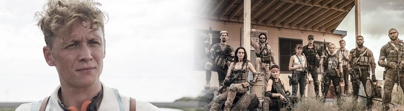 Links: Filmstill mit Matthias Schweighöfer aus Zack Snyders Army of the Dead. rechts: Gruppenbild des Army-of-the-Dead-Hauptcast