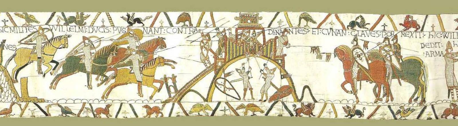 Ein Teil des Teppichs von Bayeux, das die Schlacht bei Hastings zeigt