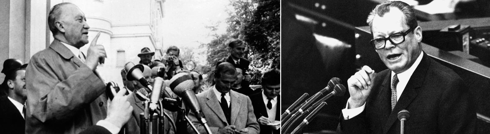 Konrad Adenauer nach seinem Wahlsieg 1957 und Willy Brandt bei seiner Antrittsrede als Bundeskanzler 1969.