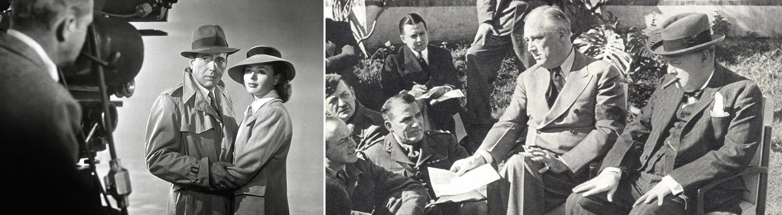 """Humphrey Bogart und Ingrid Bergman in """"Casablanca"""" aus dem Jahr 1943. Im selben Jahr: Geheimtreffen der Anti-Hitler-Koalition zwischen Franklin D. Roosevelt und Winston Churchill."""
