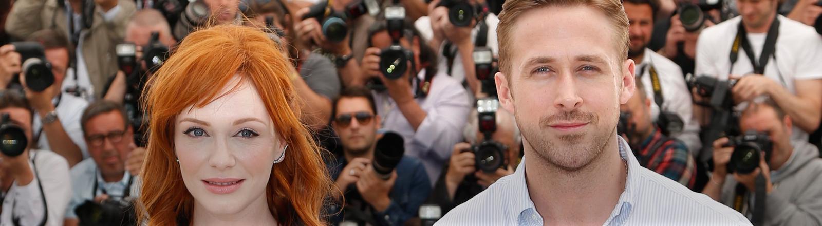 """Ryan Gosling und Christina Hendricks beim Photocall zum Film """"Lost River"""", Goslings Regiedebüt, in Cannes 2014."""