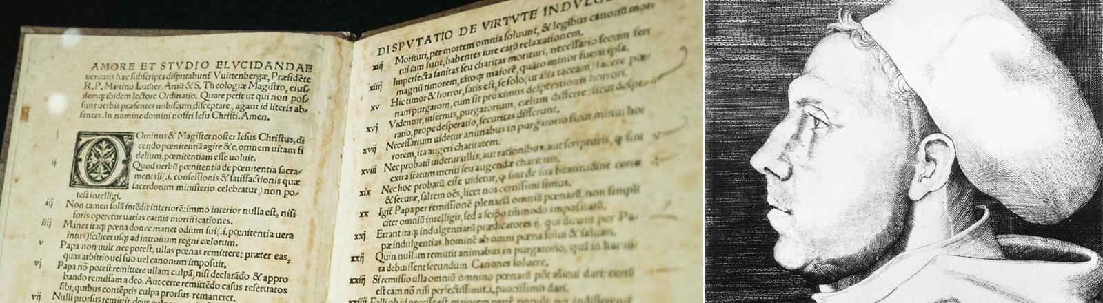Ein Druck von 1517 mit den 95 lateinischen Thesen von Martin Luther und eine zeitgenössischen Darstellung des deutschen Reformators.