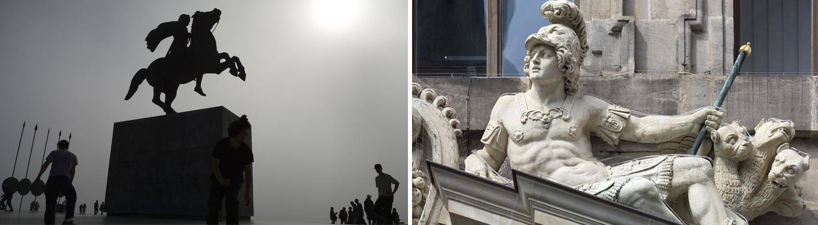 Silhoutte von Menschen und Skatebordern an der Alexander der Große Statue in schwerem Nebel an der Küste der Stadt Thessaloniki // Skulptur Alexander des Großen mit geflügelten Panthern, Altes Rathaus von 1616, Nürnberg
