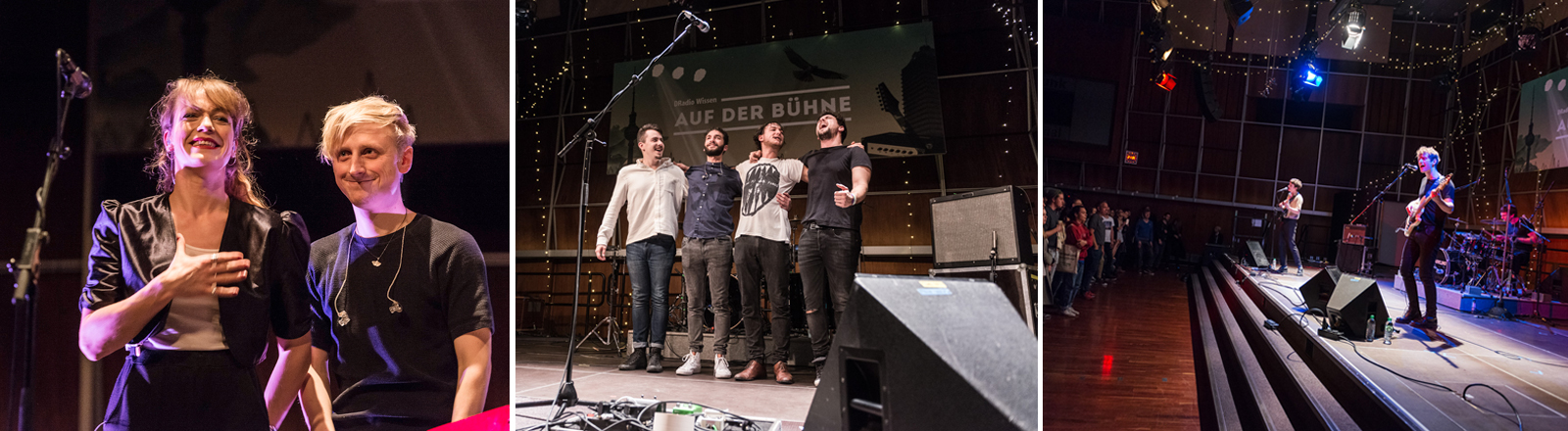 Die drei Bands: Me Me And My Drummer (links), KYTES (Mitte), Sparkling (rechts)