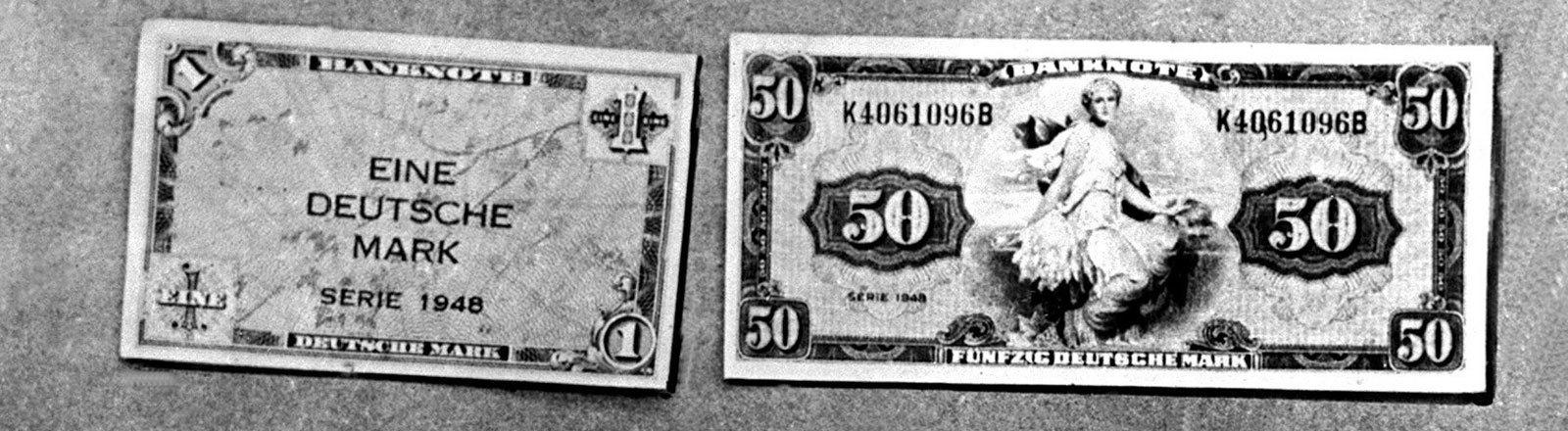 Die neuen deutschen Geldscheine, die ab dem 21. Juni 1948 im Zuge der Währungsreform im Westen Deutschlands gültig waren (Aufnahme vom 19.6.1948)