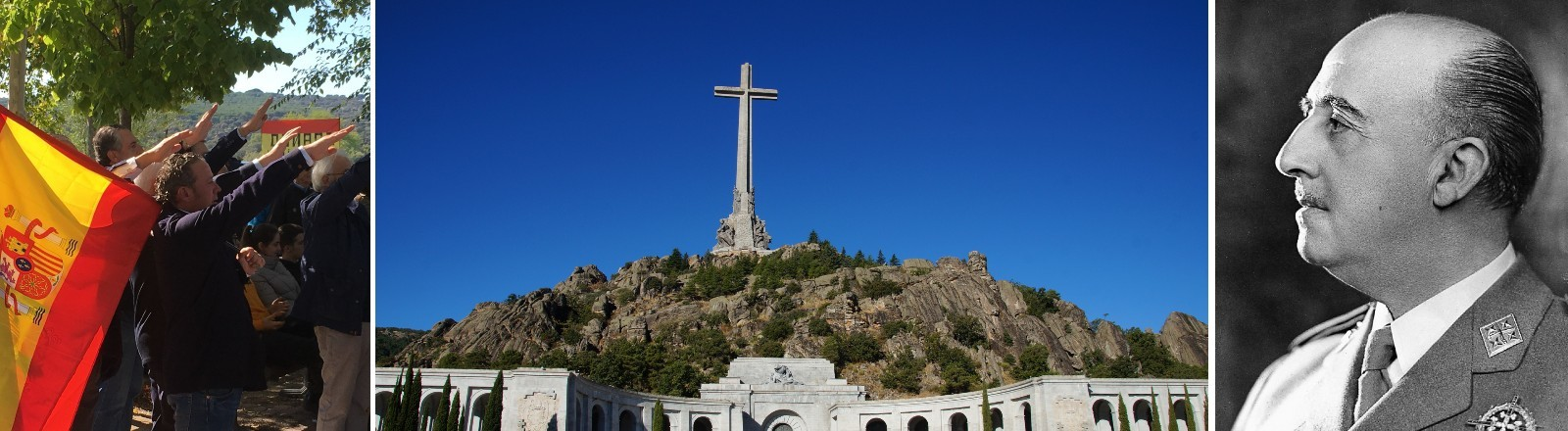 Anhänger Francos im Jahr 2019, das Mausoleum, Porträt des Diktators Francisco Franco