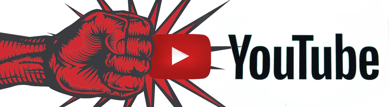 Eine Faust richtet sich gegen das Yotube-Logo (Symbolbild)