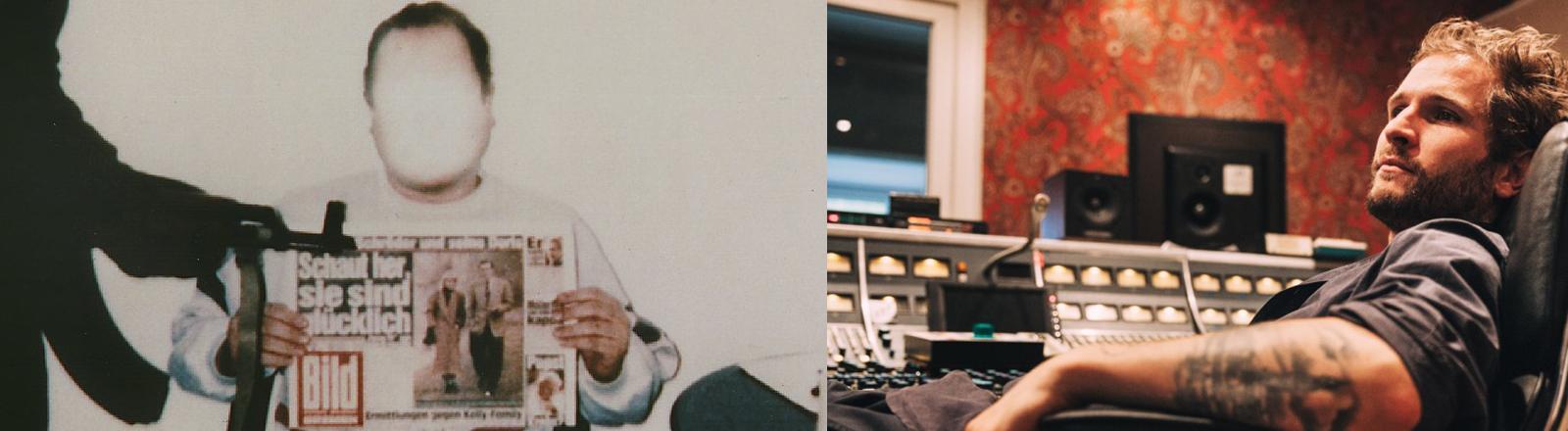 Das von der Polizei geblendete Polaroid-Foto zeigt Jan Philipp Reemtsma bei den Entführern mit einer Ausgabe der Bild-Zeitung vom 26.3.1996. Das Foto wurde den Angehörigen als Lebensbeweis übermittelt.