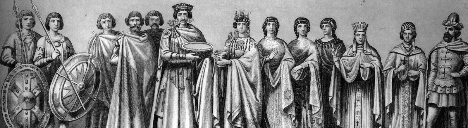 Zeichnung des Kaisers Justinian mit seiner Frau und Gefolge