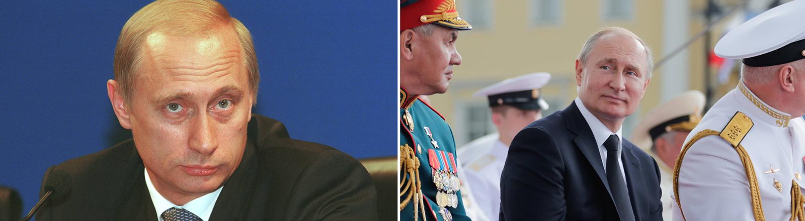 Wladimir Putin im Jahr 2000 und in 2019
